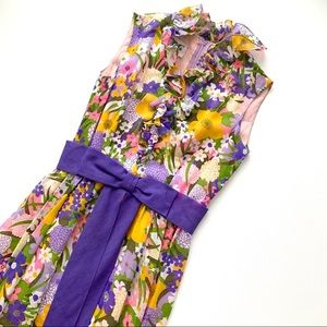 Vintage 70s Floral Maxi Dress XS/S Ruffled Bow